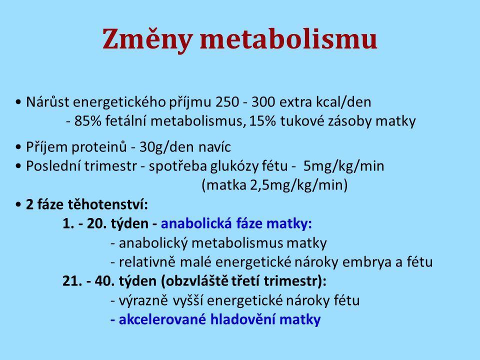 Změny metabolismu Nárůst energetického příjmu 250 - 300 extra kcal/den - 85% fetální metabolismus, 15% tukové zásoby matky Příjem proteinů - 30g/den navíc Poslední trimestr - spotřeba glukózy fétu - 5mg/kg/min (matka 2,5mg/kg/min) 2 fáze těhotenství: 1.
