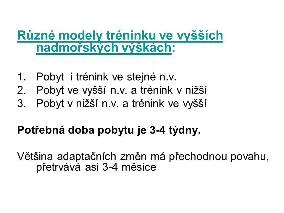 Různé modely tréninku ve vyšších nadmořských výškách: 1.Pobyt i trénink ve stejné n.v.