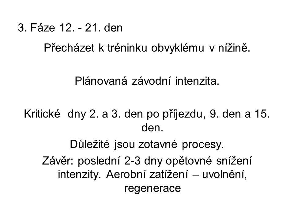 3.Fáze 12. - 21. den Přecházet k tréninku obvyklému v nížině.