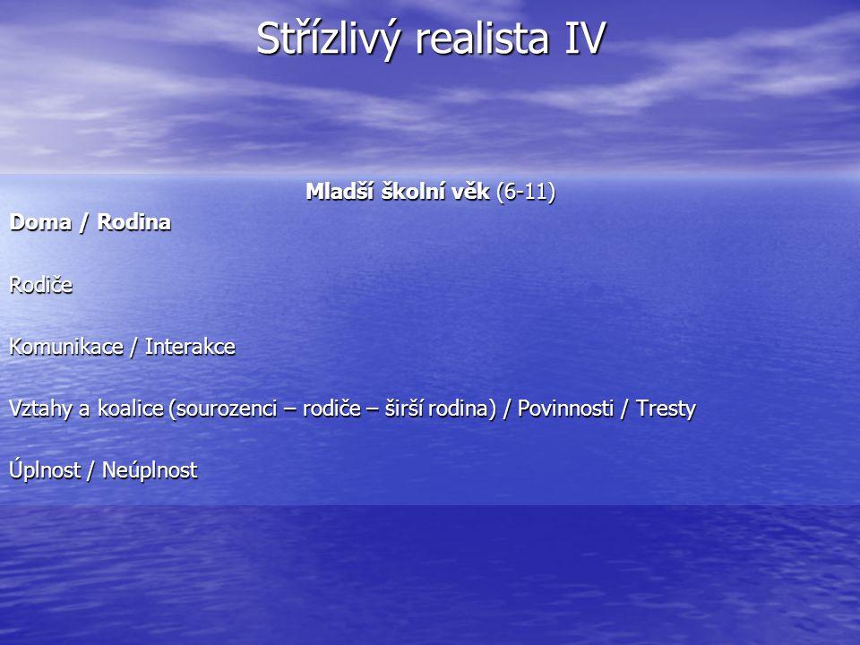 Střízlivý realista IV Mladší školní věk (6-11) Doma / Rodina Rodiče Komunikace / Interakce Vztahy a koalice (sourozenci – rodiče – širší rodina) / Pov