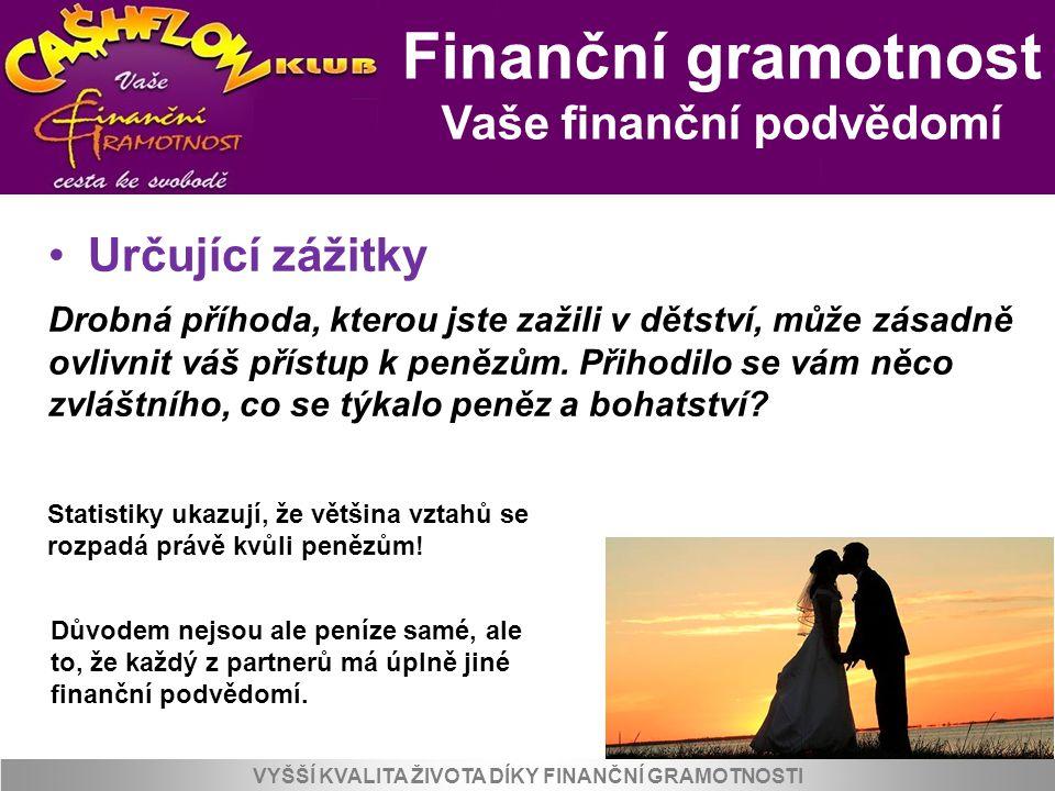 Finanční gramotnost Vaše finanční podvědomí VYŠŠÍ KVALITA ŽIVOTA DÍKY FINANČNÍ GRAMOTNOSTI Určující zážitky Drobná příhoda, kterou jste zažili v dětst