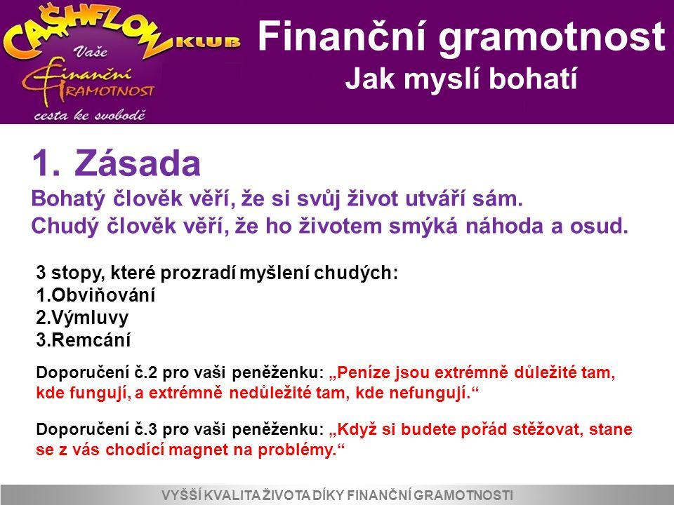 Finanční gramotnost Jak myslí bohatí VYŠŠÍ KVALITA ŽIVOTA DÍKY FINANČNÍ GRAMOTNOSTI 1. Zásada Bohatý člověk věří, že si svůj život utváří sám. Chudý č
