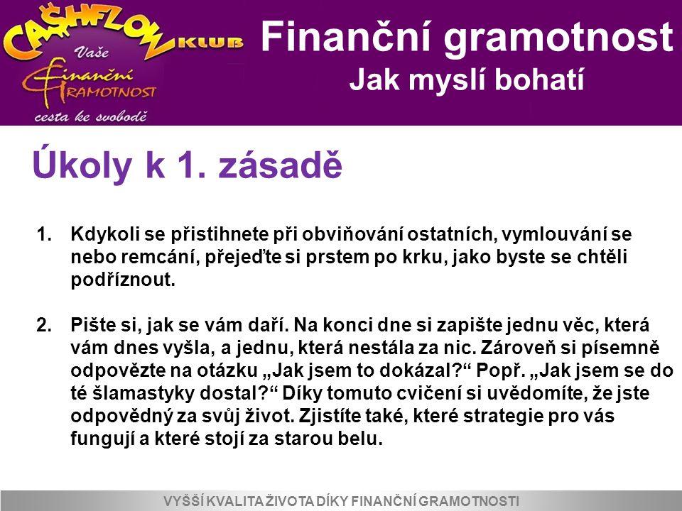 Finanční gramotnost Jak myslí bohatí VYŠŠÍ KVALITA ŽIVOTA DÍKY FINANČNÍ GRAMOTNOSTI Úkoly k 1. zásadě 1.Kdykoli se přistihnete při obviňování ostatníc