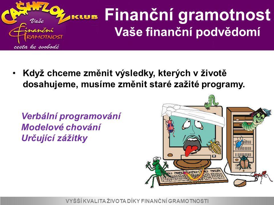 Finanční gramotnost Vaše finanční podvědomí VYŠŠÍ KVALITA ŽIVOTA DÍKY FINANČNÍ GRAMOTNOSTI Verbální programování Co jste slýchali v dětství o penězích, bohatství a o lidech, kteří mají hodně peněz.