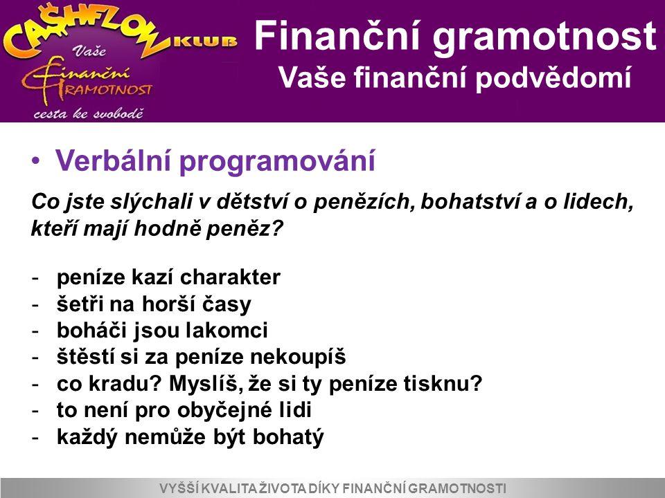 Finanční gramotnost Vaše finanční podvědomí VYŠŠÍ KVALITA ŽIVOTA DÍKY FINANČNÍ GRAMOTNOSTI Verbální programování Co jste slýchali v dětství o penězích