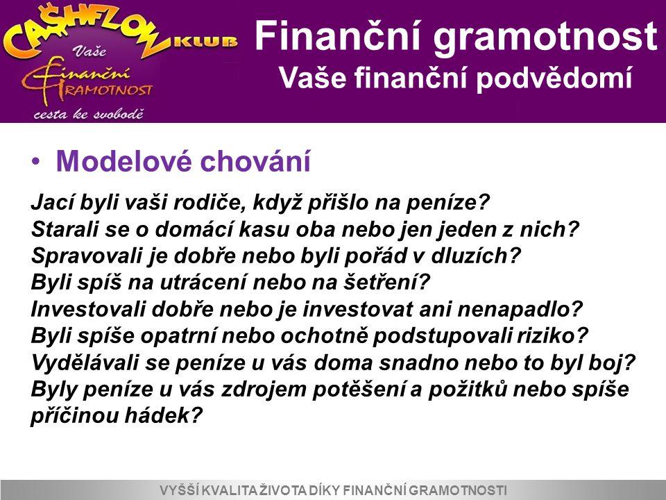 Finanční gramotnost Vaše finanční podvědomí VYŠŠÍ KVALITA ŽIVOTA DÍKY FINANČNÍ GRAMOTNOSTI Modelové chování Jací byli vaši rodiče, když přišlo na pení