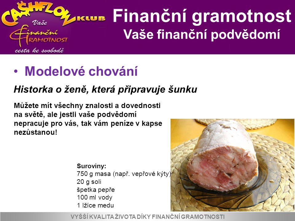 Finanční gramotnost Jak myslí bohatí VYŠŠÍ KVALITA ŽIVOTA DÍKY FINANČNÍ GRAMOTNOSTI 6.