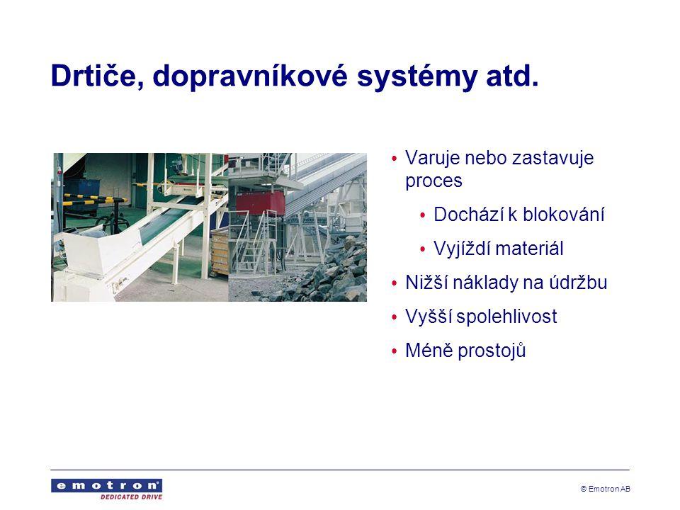 © Emotron AB Drtiče, dopravníkové systémy atd. Varuje nebo zastavuje proces Dochází k blokování Vyjíždí materiál Nižší náklady na údržbu Vyšší spolehl