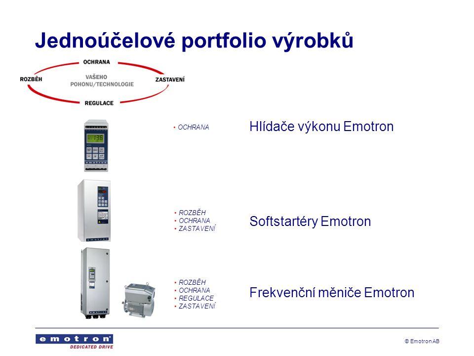© Emotron AB Jednoúčelové portfolio výrobků Hlídače výkonu Emotron Softstartéry Emotron Frekvenční měniče Emotron OCHRANA ROZBĚH OCHRANA ZASTAVENÍ ROZ