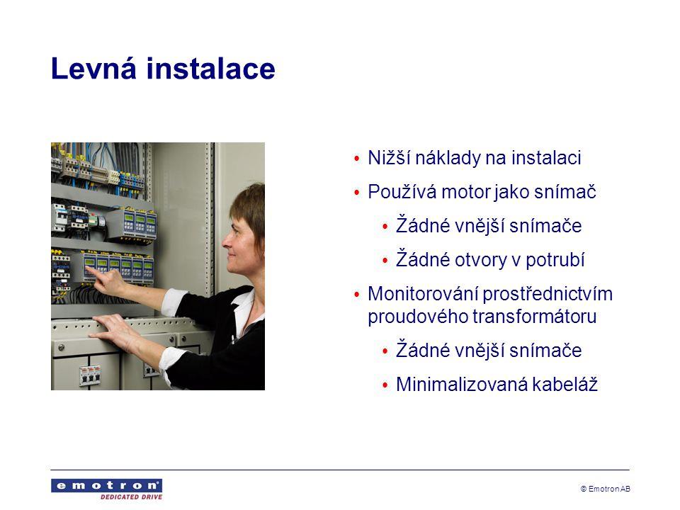 © Emotron AB Levná instalace Nižší náklady na instalaci Používá motor jako snímač Žádné vnější snímače Žádné otvory v potrubí Monitorování prostřednic