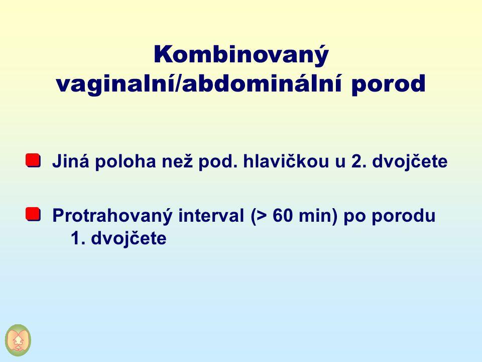 Kombinovaný vaginalní/abdominální porod Jiná poloha než pod. hlavičkou u 2. dvojčete Protrahovaný interval (> 60 min) po porodu 1. dvojčete
