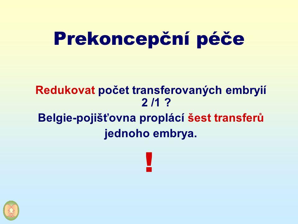 Prekoncepční péče Redukovat počet transferovaných embryií 2 /1 ? Belgie-pojišťovna proplácí šest transferů jednoho embrya. !