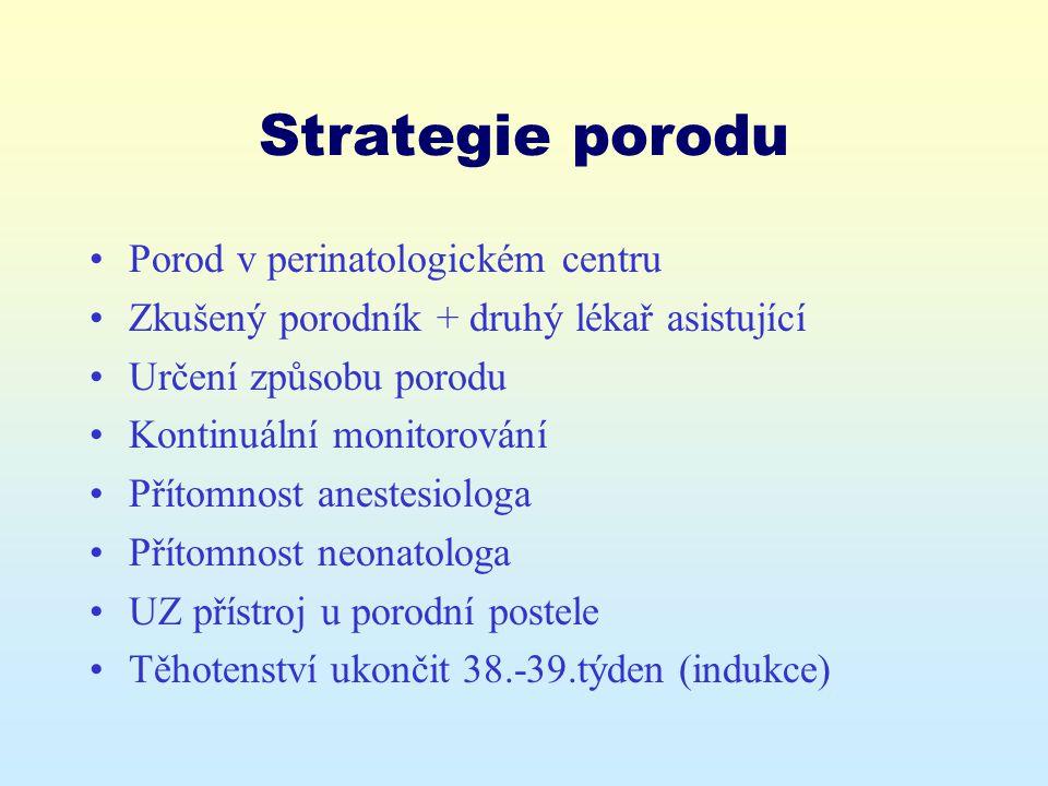 Strategie porodu Porod v perinatologickém centru Zkušený porodník + druhý lékař asistující Určení způsobu porodu Kontinuální monitorování Přítomnost a