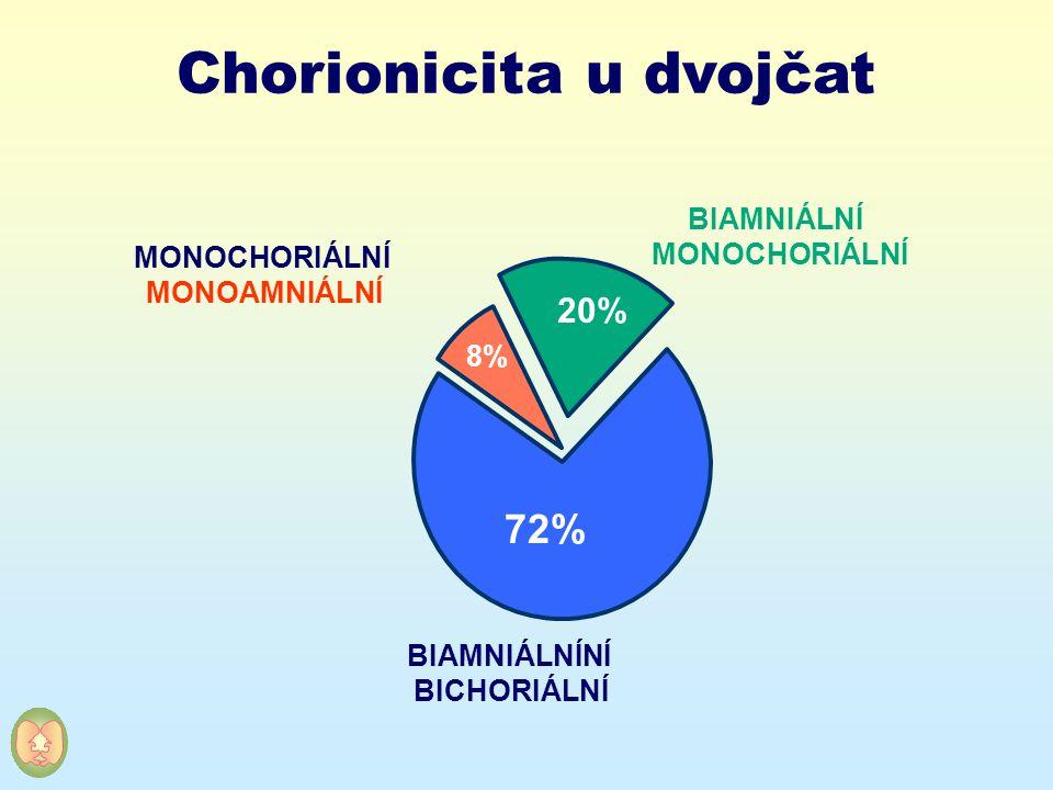 Chorionicita u dvojčat MONOCHORIÁLNÍ MONOAMNIÁLNÍ BIAMNIÁLNÍ MONOCHORIÁLNÍ BIAMNIÁLNÍNÍ BICHORIÁLNÍ 20% 72% 8%
