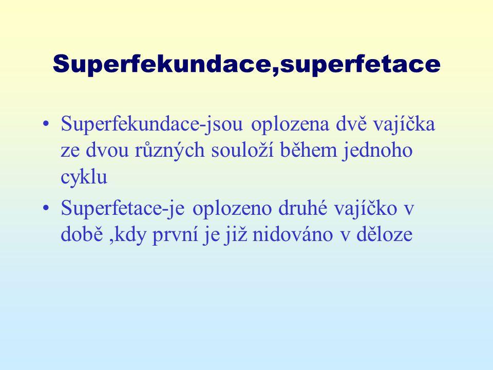 Superfekundace,superfetace Superfekundace-jsou oplozena dvě vajíčka ze dvou různých souloží během jednoho cyklu Superfetace-je oplozeno druhé vajíčko