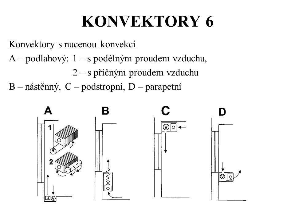 KONVEKTORY 6 Konvektory s nucenou konvekcí A – podlahový: 1 – s podélným proudem vzduchu, 2 – s příčným proudem vzduchu B – nástěnný, C – podstropní,