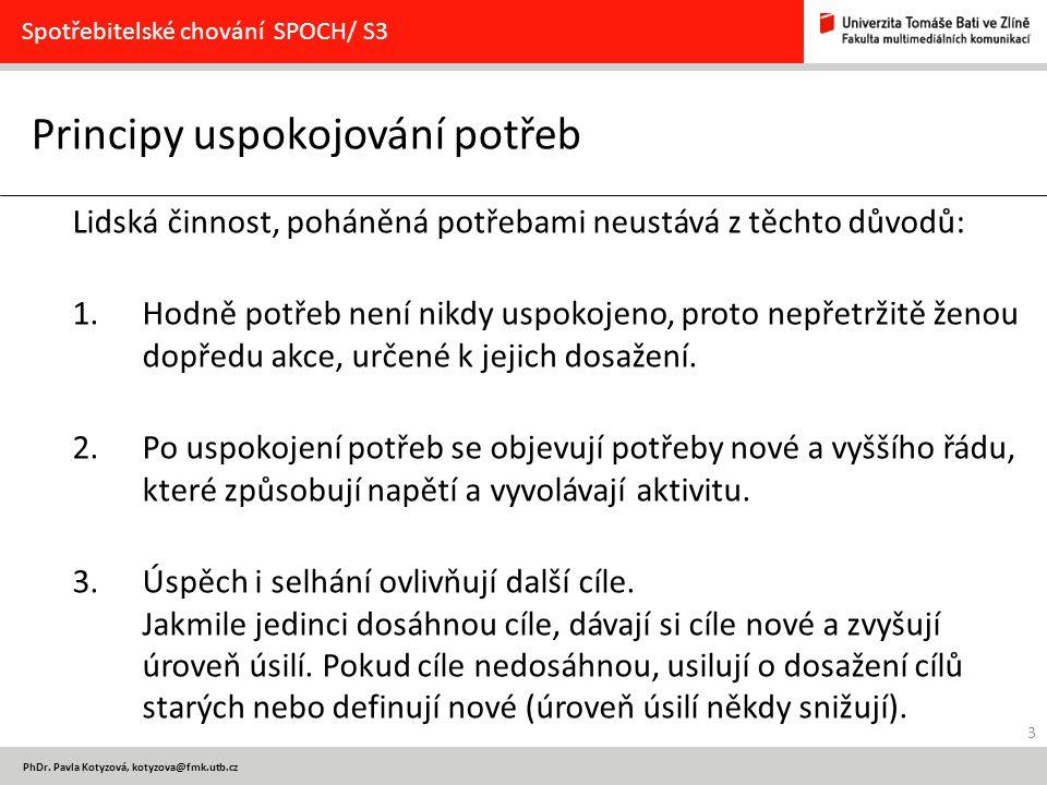 3 PhDr. Pavla Kotyzová, kotyzova@fmk.utb.cz Principy uspokojování potřeb Spotřebitelské chování SPOCH/ S3 Lidská činnost, poháněná potřebami neustává