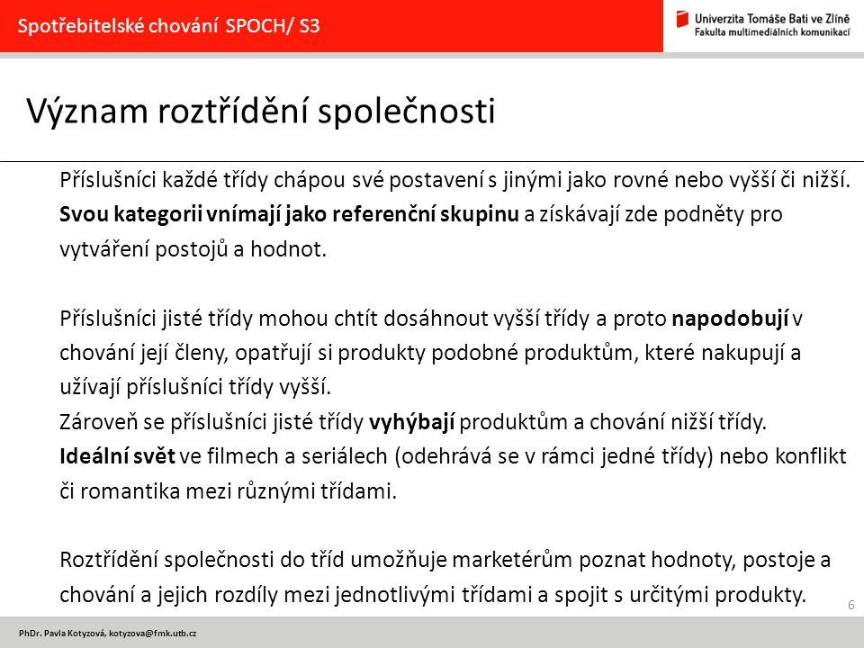 6 PhDr. Pavla Kotyzová, kotyzova@fmk.utb.cz Význam roztřídění společnosti Spotřebitelské chování SPOCH/ S3 Příslušníci každé třídy chápou své postaven