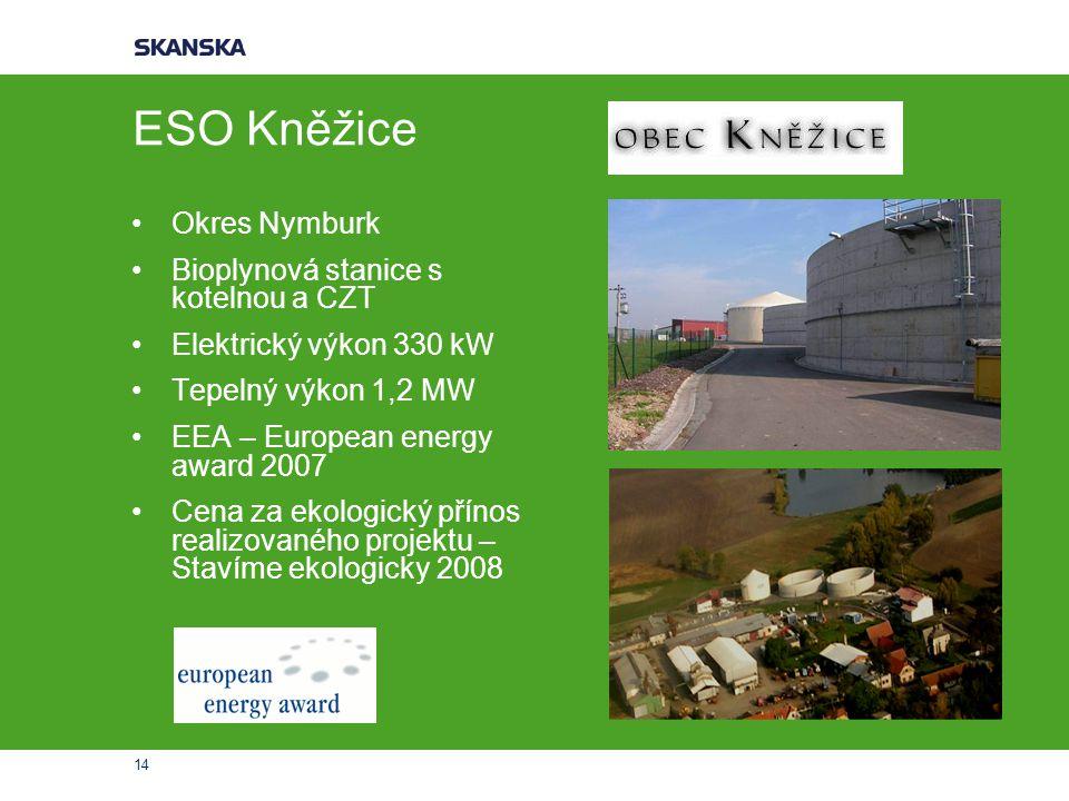 14 ESO Kněžice Okres Nymburk Bioplynová stanice s kotelnou a CZT Elektrický výkon 330 kW Tepelný výkon 1,2 MW EEA – European energy award 2007 Cena za