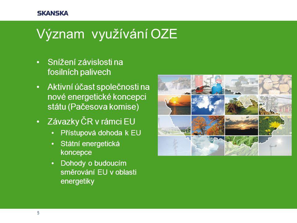 5 Význam využívání OZE Snížení závislosti na fosilních palivech Aktivní účast společnosti na nové energetické koncepci státu (Pačesova komise) Závazky