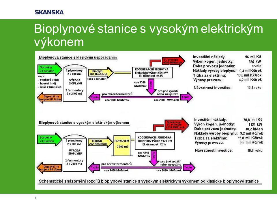 7 Bioplynové stanice s vysokým elektrickým výkonem
