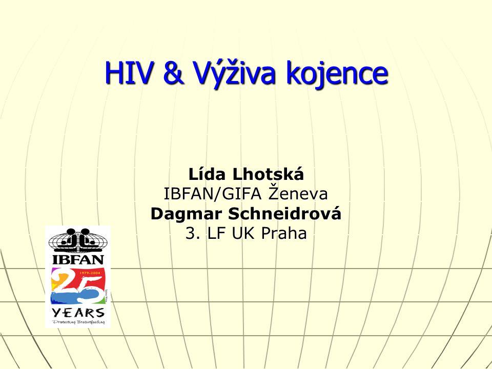 HIV & Výživa kojence Lída Lhotská IBFAN/GIFA Ženeva Dagmar Schneidrová 3. LF UK Praha