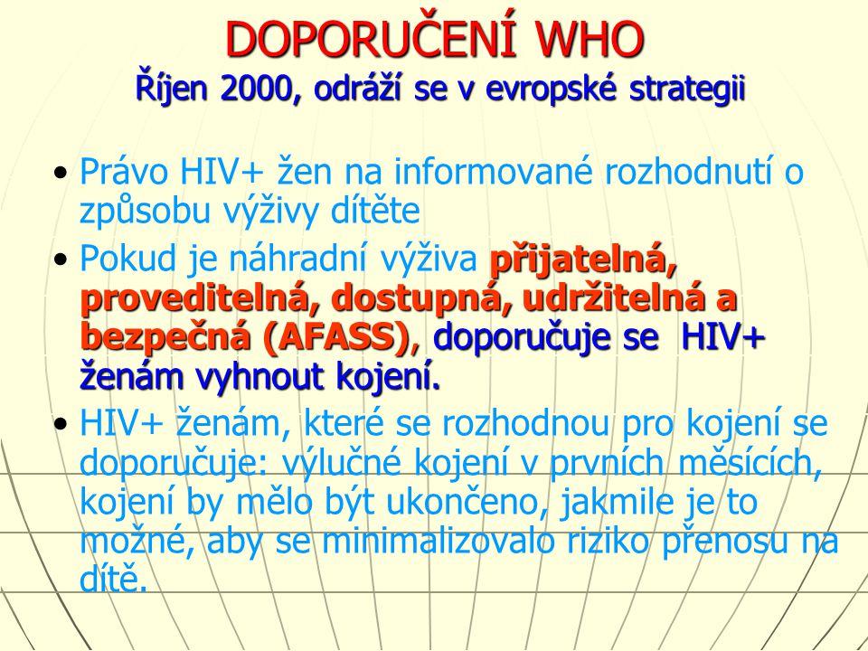 DOPORUČENÍ WHO Říjen 2000, odráží se v evropské strategii Právo HIV+ žen na informované rozhodnutí o způsobu výživy dítěte přijatelná, proveditelná, d