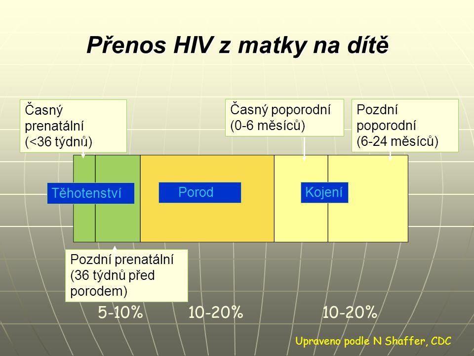 Přenos HIV z matky na dítě Časný prenatální (<36 týdnů) Časný poporodní (0-6 měsíců) Pozdní poporodní (6-24 měsíců) Pozdní prenatální (36 týdnů před p