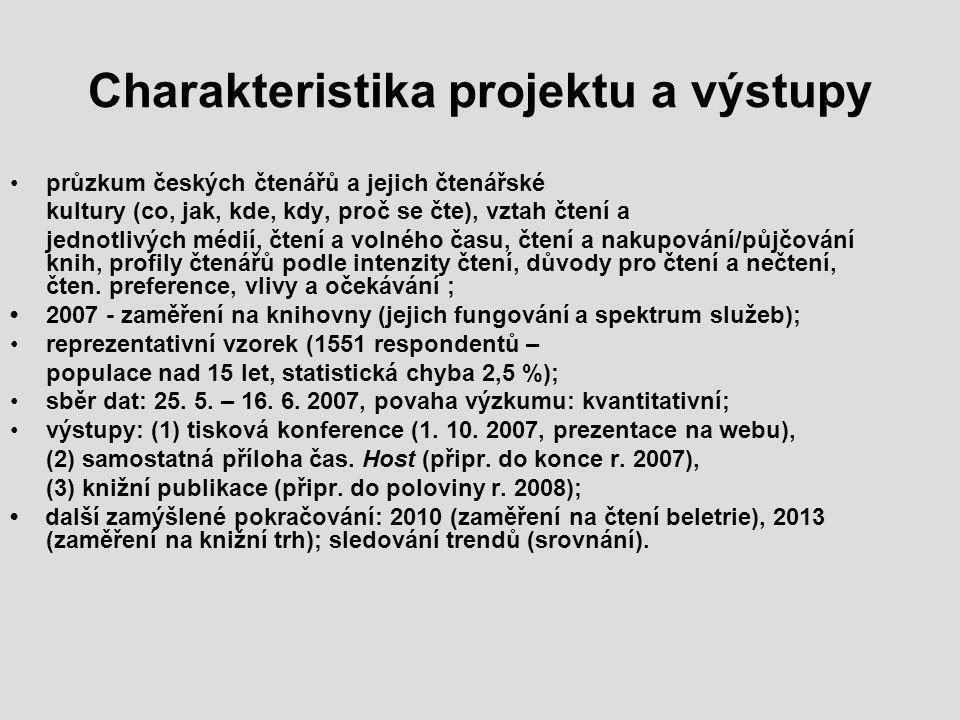 Charakteristika projektu a výstupy průzkum českých čtenářů a jejich čtenářské kultury (co, jak, kde, kdy, proč se čte), vztah čtení a jednotlivých médií, čtení a volného času, čtení a nakupování/půjčování knih, profily čtenářů podle intenzity čtení, důvody pro čtení a nečtení, čten.