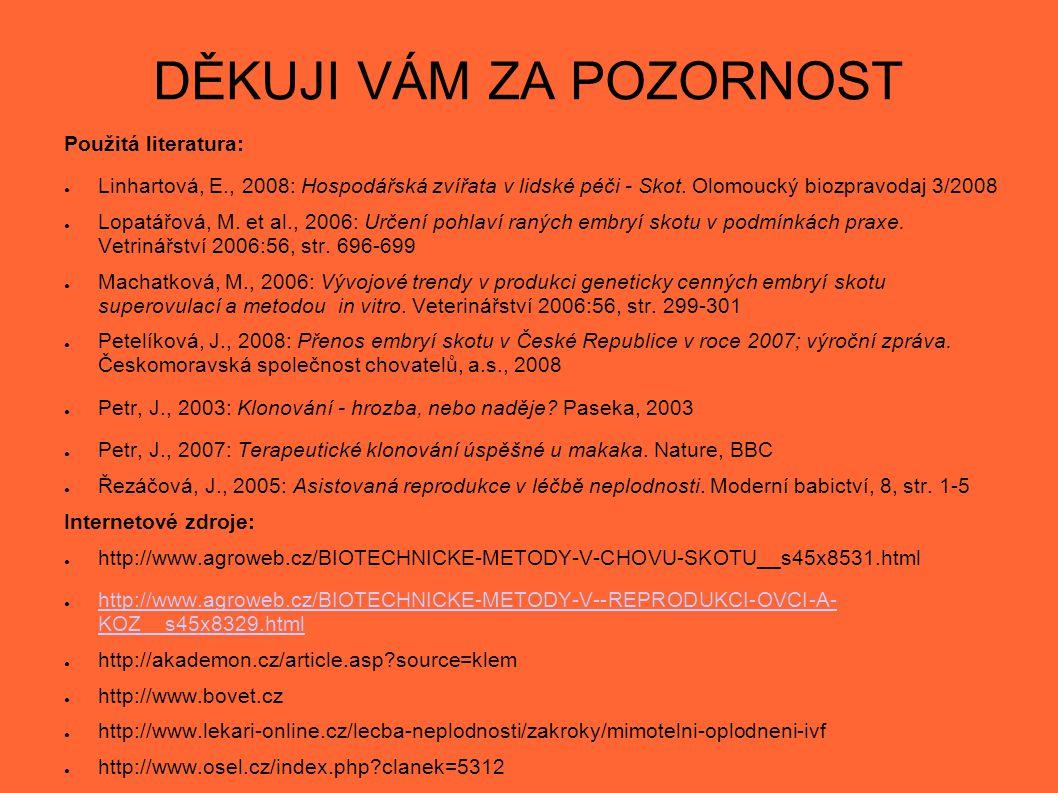 DĚKUJI VÁM ZA POZORNOST Použitá literatura: ● Linhartová, E., 2008: Hospodářská zvířata v lidské péči - Skot. Olomoucký biozpravodaj 3/2008 ● Lopatářo