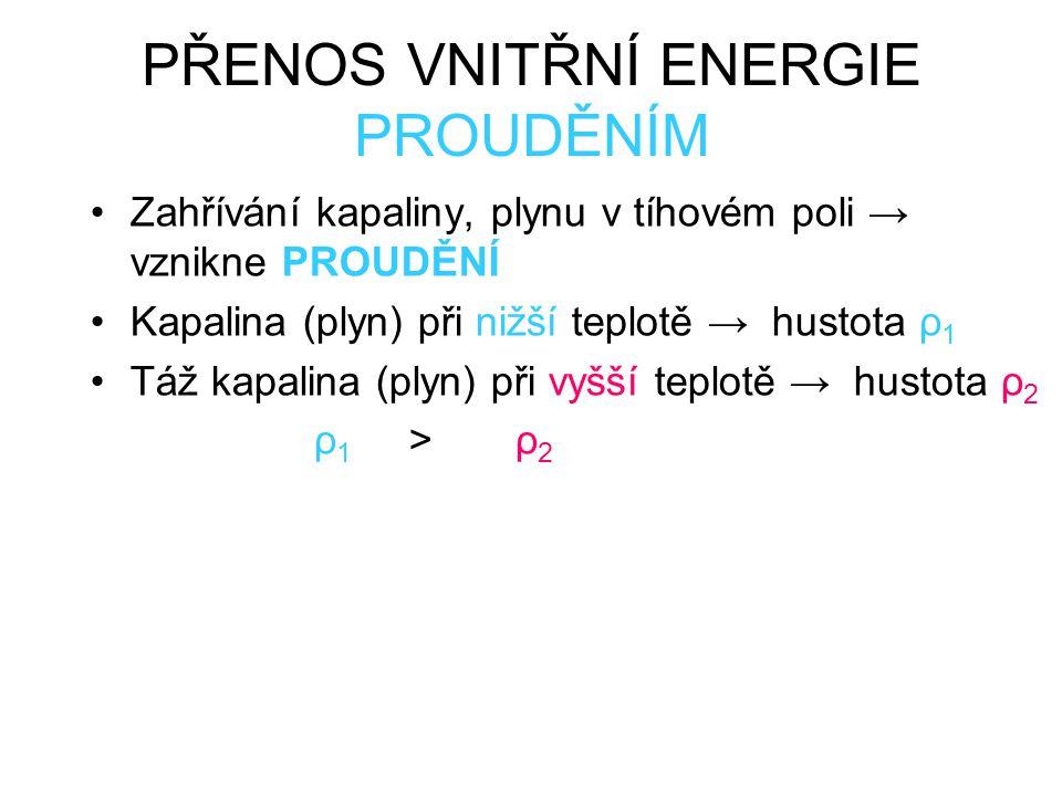 PŘENOS VNITŘNÍ ENERGIE PROUDĚNÍM Zahřívání kapaliny, plynu v tíhovém poli → vznikne PROUDĚNÍ Kapalina (plyn) při nižší teplotě → hustota ρ 1 Táž kapalina (plyn) při vyšší teplotě → hustota ρ 2 ρ 1 >ρ 2