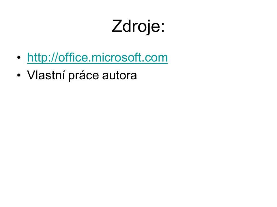 Zdroje: http://office.microsoft.com Vlastní práce autora