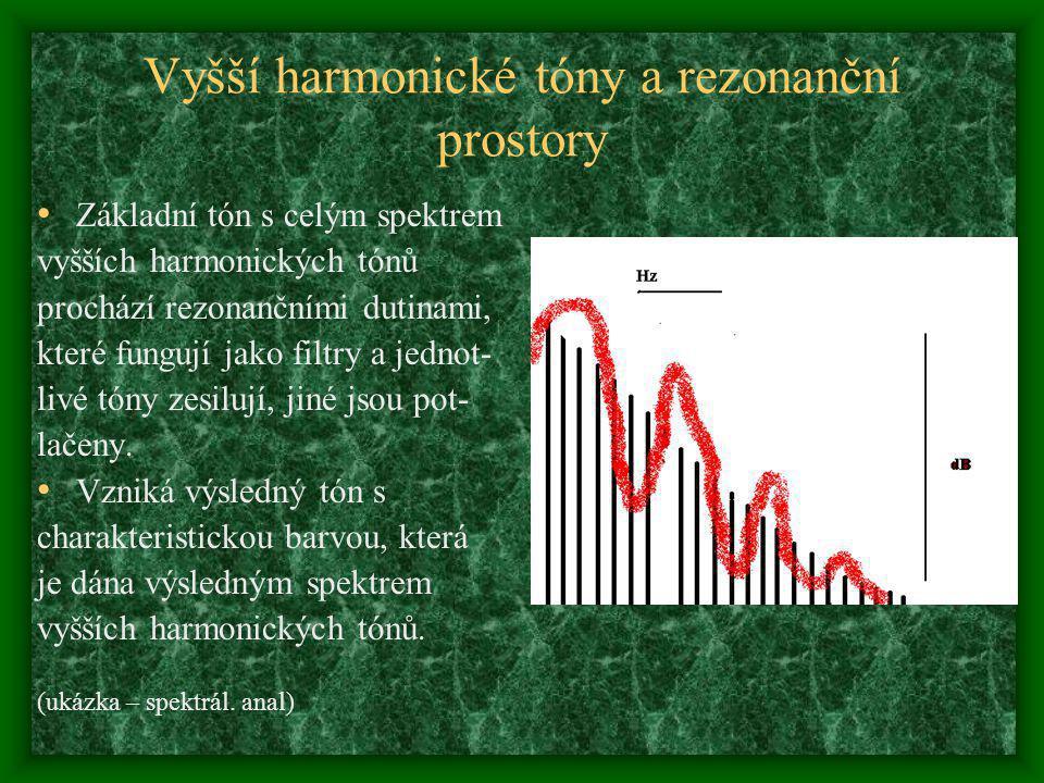 Vyšší harmonické tóny a rezonanční prostory Základní tón s celým spektrem vyšších harmonických tónů prochází rezonančními dutinami, které fungují jako filtry a jednot- livé tóny zesilují, jiné jsou pot- lačeny.