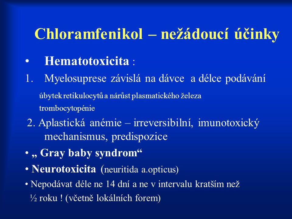 Chloramfenikol – nežádoucí účinky Hematotoxicita : 1.Myelosuprese závislá na dávce a délce podávání úbytek retikulocytů a nárůst plasmatického železa
