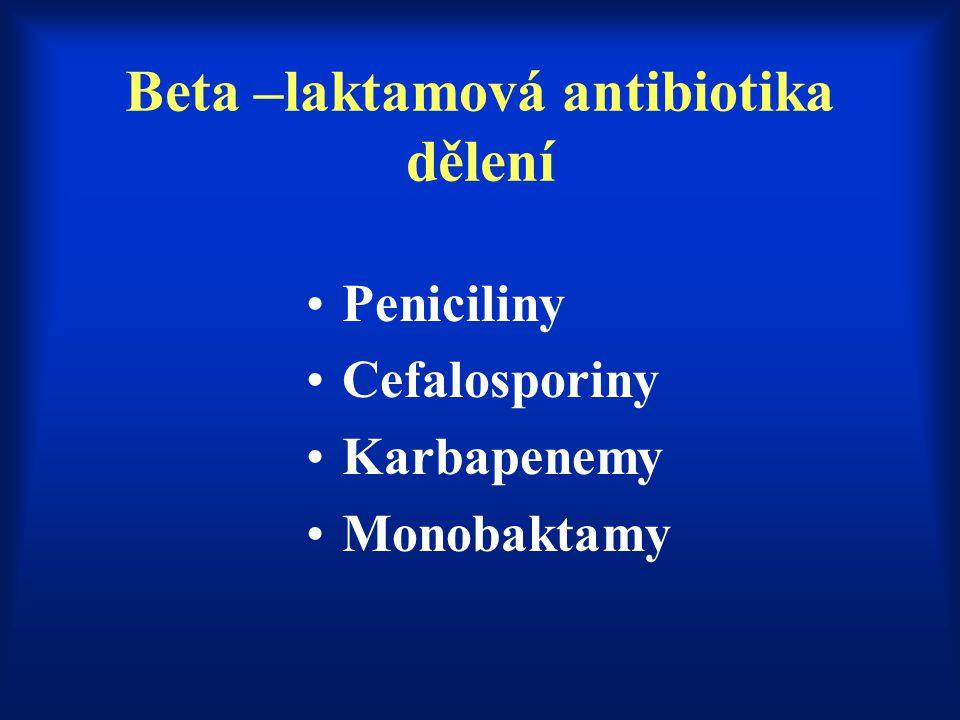 Beta –laktamová antibiotika dělení Peniciliny Cefalosporiny Karbapenemy Monobaktamy
