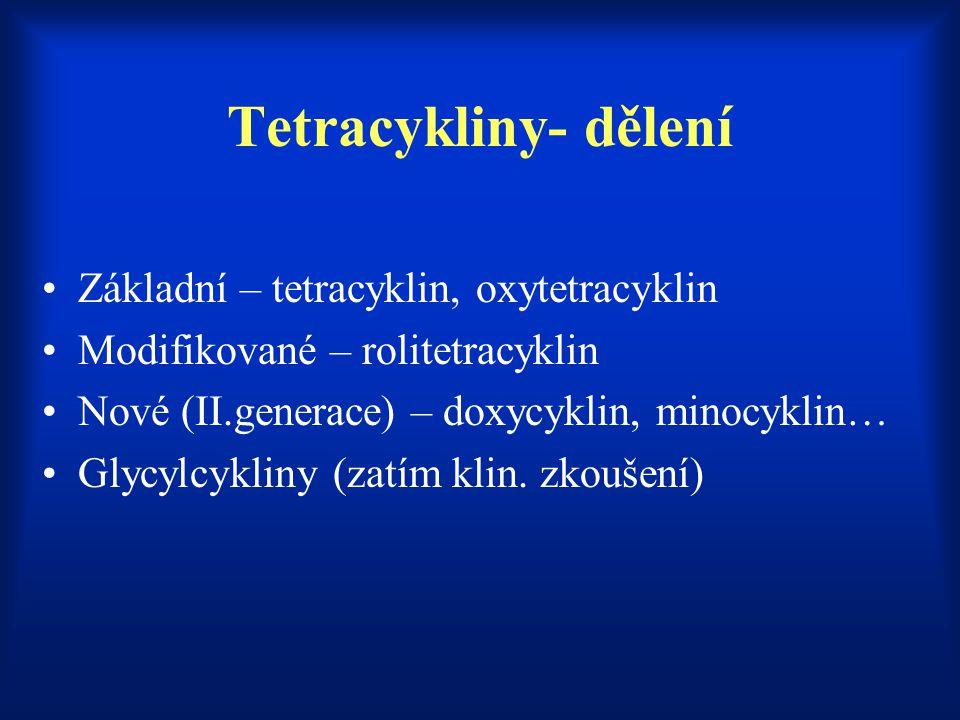 Tetracykliny- dělení Základní – tetracyklin, oxytetracyklin Modifikované – rolitetracyklin Nové (II.generace) – doxycyklin, minocyklin… Glycylcykliny