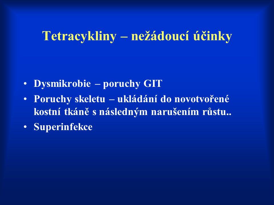 Tetracykliny – nežádoucí účinky Dysmikrobie – poruchy GIT Poruchy skeletu – ukládání do novotvořené kostní tkáně s následným narušením růstu.. Superin