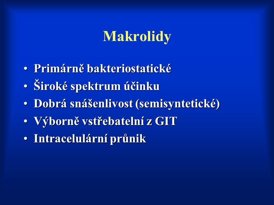 Makrolidy Primárně bakteriostatickéPrimárně bakteriostatické Široké spektrum účinkuŠiroké spektrum účinku Dobrá snášenlivost (semisyntetické)Dobrá sná