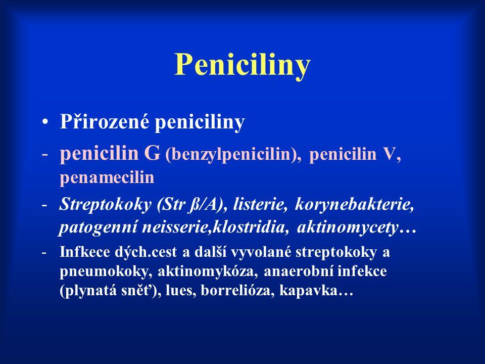Peniciliny Přirozené peniciliny -penicilin G (benzylpenicilin), penicilin V, penamecilin -Streptokoky (Str ß/A), listerie, korynebakterie, patogenní n