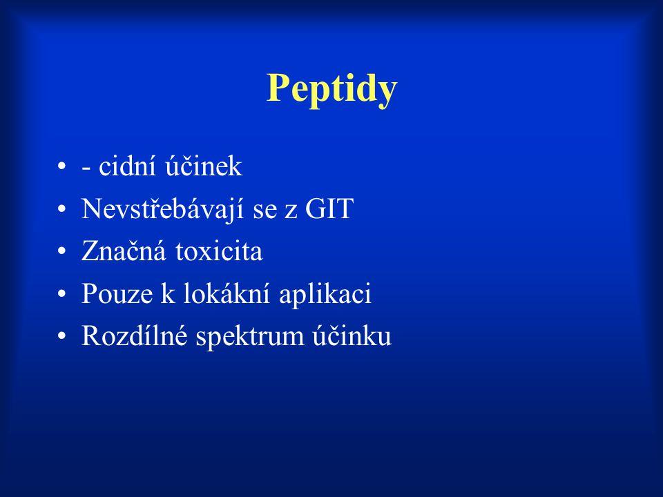 Peptidy - cidní účinek Nevstřebávají se z GIT Značná toxicita Pouze k lokákní aplikaci Rozdílné spektrum účinku