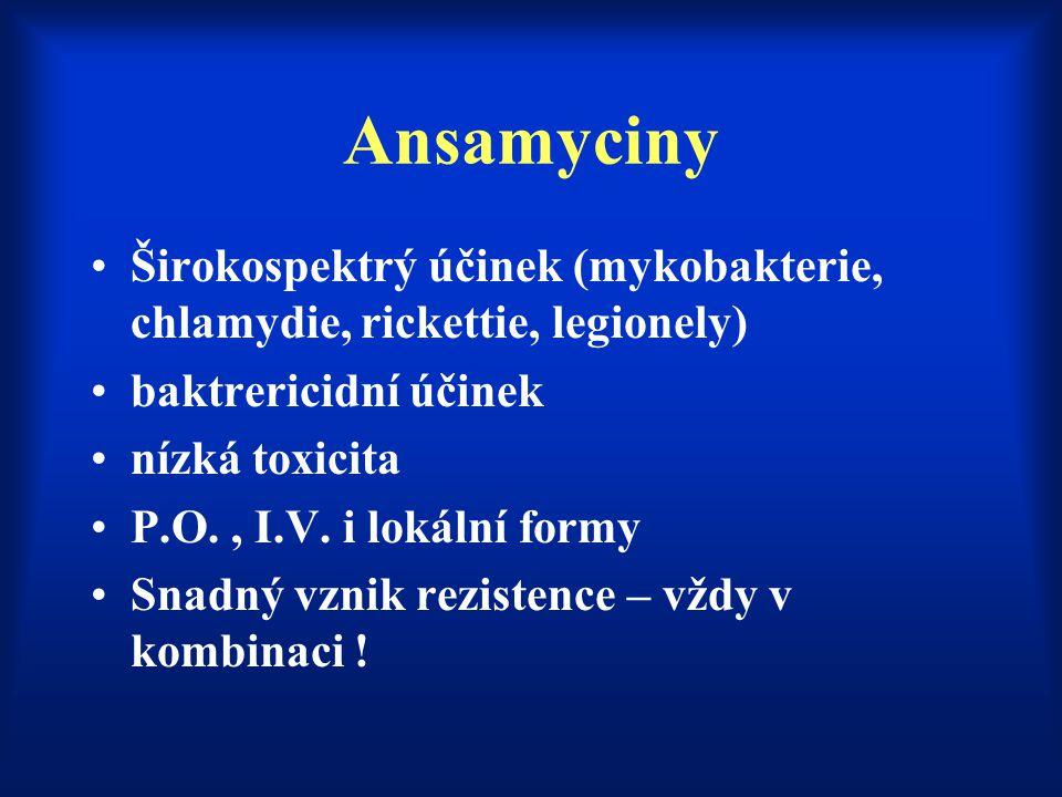 Ansamyciny Širokospektrý účinek (mykobakterie, chlamydie, rickettie, legionely) baktrericidní účinek nízká toxicita P.O., I.V. i lokální formy Snadný