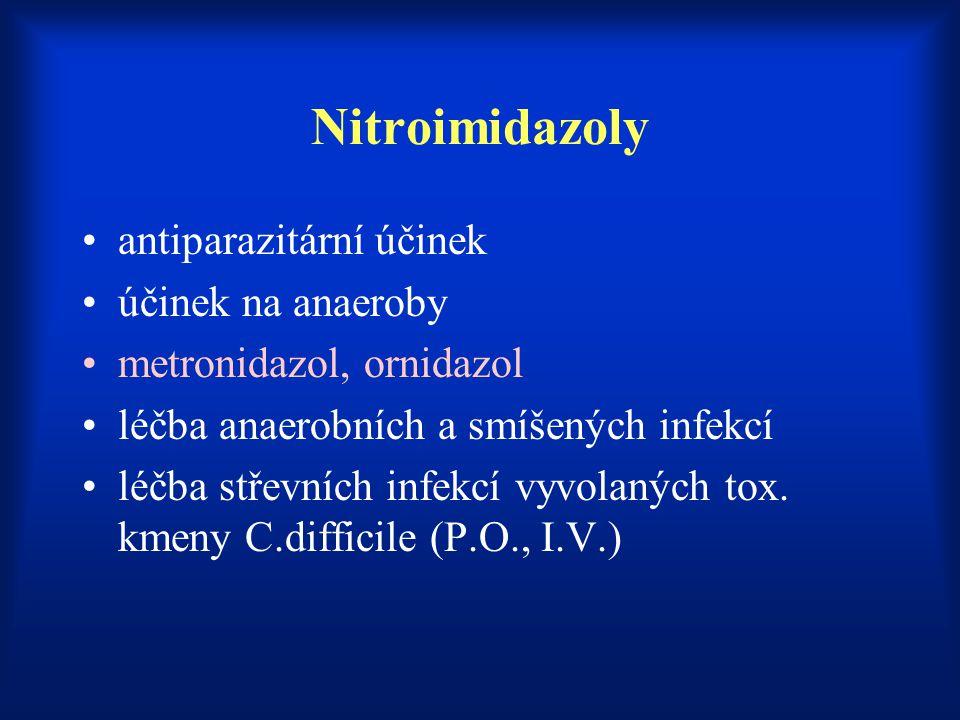 Nitroimidazoly antiparazitární účinek účinek na anaeroby metronidazol, ornidazol léčba anaerobních a smíšených infekcí léčba střevních infekcí vyvolan