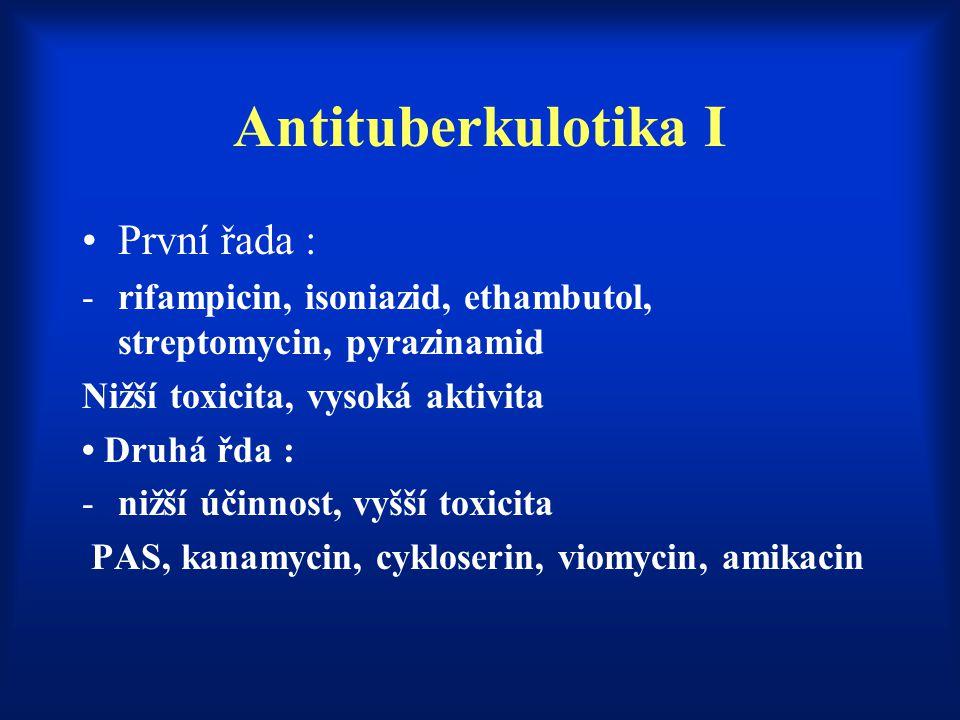 Antituberkulotika I První řada : -rifampicin, isoniazid, ethambutol, streptomycin, pyrazinamid Nižší toxicita, vysoká aktivita Druhá řda : -nižší účin