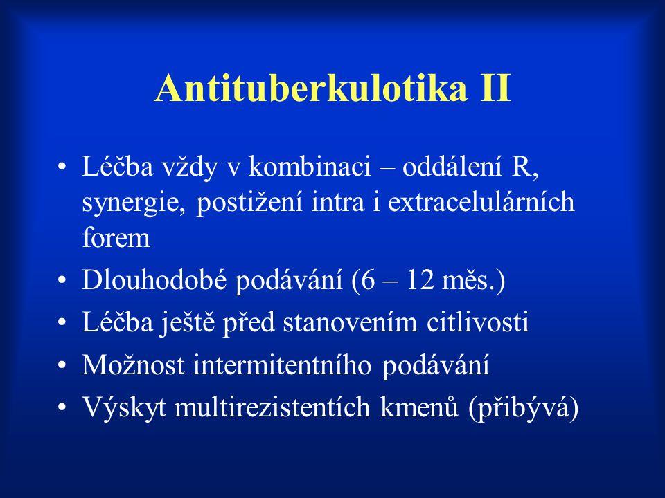 Antituberkulotika II Léčba vždy v kombinaci – oddálení R, synergie, postižení intra i extracelulárních forem Dlouhodobé podávání (6 – 12 měs.) Léčba j