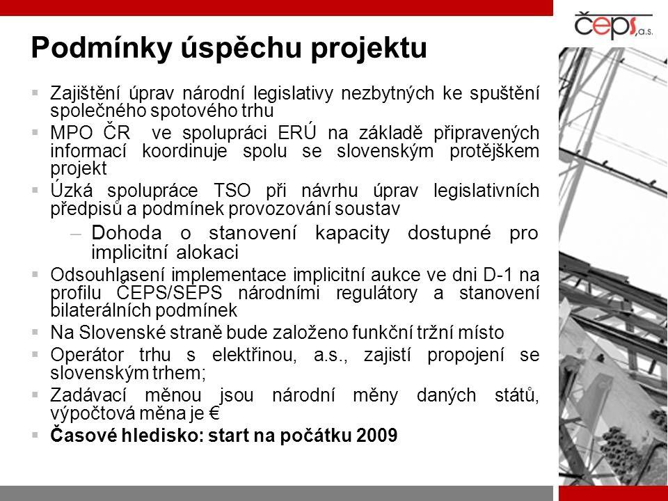 Podmínky úspěchu projektu  Zajištění úprav národní legislativy nezbytných ke spuštění společného spotového trhu  MPO ČR ve spolupráci ERÚ na základě