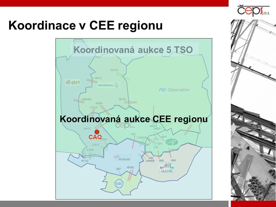 Koordinace v CEE regionu  V provozu koordinovaná aukce 5 TSO od 2006  Založení nové aukční kanceláře: CAO  Probíhající analýza FBA metody  Komunikace s regulátory: –Metoda výpočtu a alokace kapacit –Pravidla aukcí –Smlouvy mezi subjekty  Start koordinované alokační procedury.