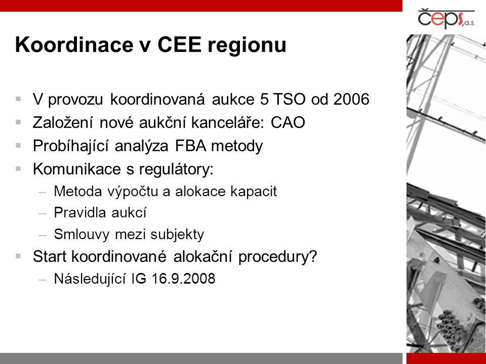 Koordinace v CEE regionu  V provozu koordinovaná aukce 5 TSO od 2006  Založení nové aukční kanceláře: CAO  Probíhající analýza FBA metody  Komunik