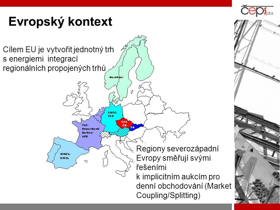 Cílem EU je vytvořit jednotný trh s energiemi integrací regionálních propojených trhů Regiony severozápadní Evropy směřují svými řešeními k implicitní