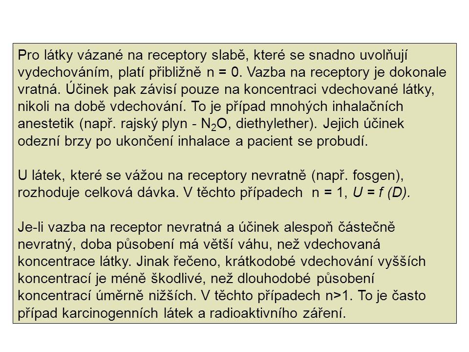 Pro látky vázané na receptory slabě, které se snadno uvolňují vydechováním, platí přibližně n = 0. Vazba na receptory je dokonale vratná. Účinek pak z