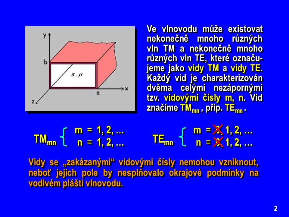 3 Mezní kmitočty a mezní vlnové délky vidů TM a TE ve vlno- vodu obdélníkového průřezu Vlivem různých mezních kmitočtů mají jednotlivé vidy TM mn a TE mn ● různou fázovou rychlost v f, ● různou skupinovou rychlost v sk, ● různou délku vlny ve vlnovodu λ g, ● různou charakteristickou impedanci Z 0, ● přenášejí různě velký činný výkon a ● jsou tlumeny s různou hodnotou měrného útlumu α.